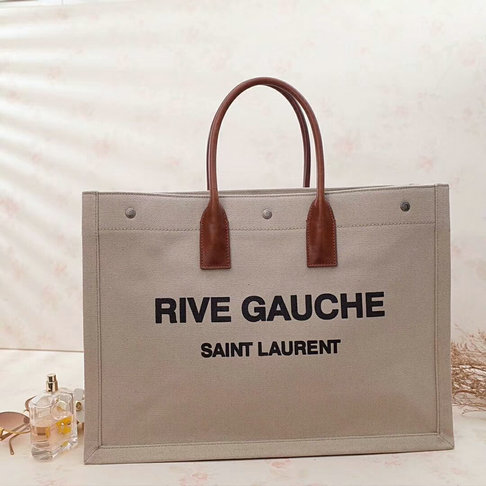 2018 S/S Saint Laurent Rive Gauche Tote Bag in Beige Linen and Brown Leather