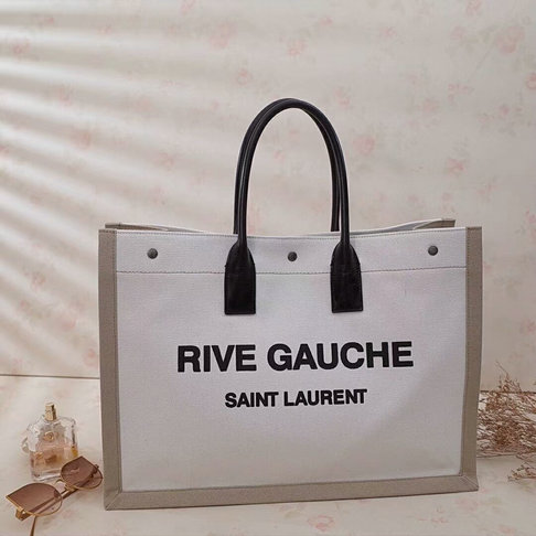 2018 S/S Saint Laurent Rive Gauche Tote Bag in Bicolor Linen and Black Leather
