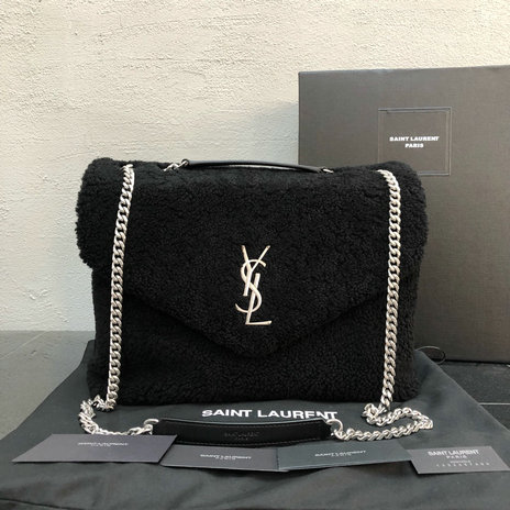 2018 Saint Laurent Loulou Bag in Black Shearling