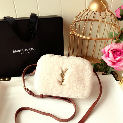 2018 Saint Laurent Small Lou Belt Bag in Ivory Shearling