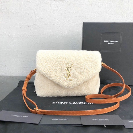 2018 Saint Laurent Small Loulou Bag in Ivory Shearling