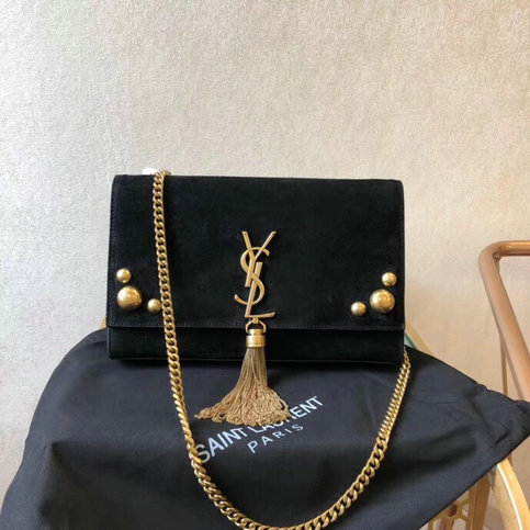 2018 Saint Laurent Kate Medium Bag Black with tassel in suede and studs - Click Image to Close