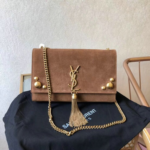 2018 Saint Laurent Kate Medium Bag Moka with tassel in suede and studs