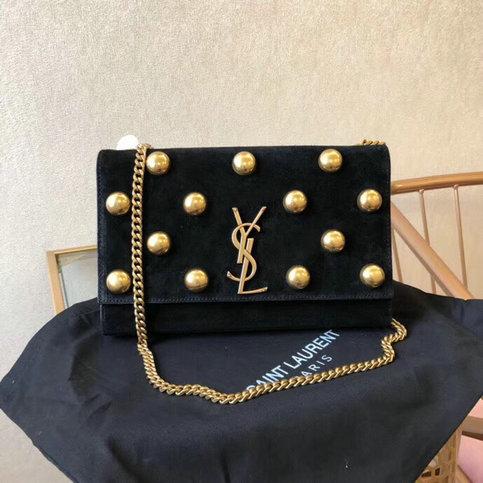 f2836ed16d37 2018 Saint Laurent Monogram Kate Studs Medium Bag in Black Suede