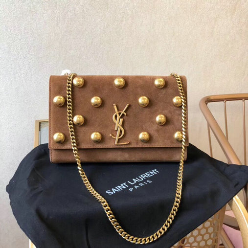 2018 Saint Laurent Monogram Kate Studs Medium Bag in Moka Suede
