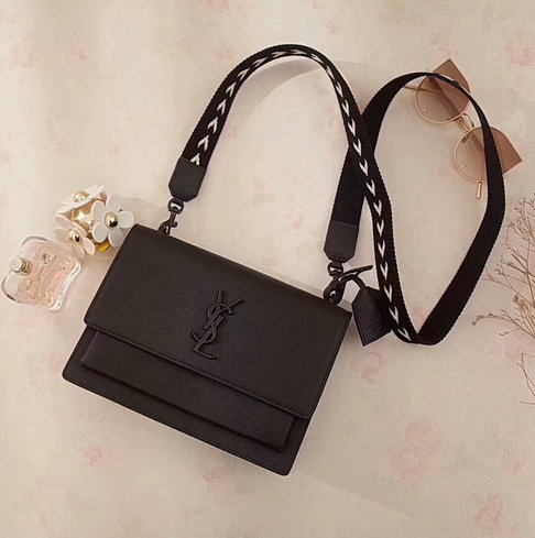 2018 S/S Saint Laurent Medium Sunset Fes Bag Black with Black toned hardware