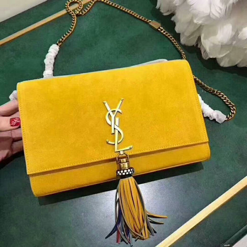 2015 New Saint Laurent Bag Cheap Sale- Classic MONOGRAM SAINT LAURENT Tassel Satchel in Yellow Suede and Leather