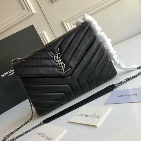 "2018 Saint Laurent Small Loulou Chain Bag in Black ""Y"" Matelasse Leather"