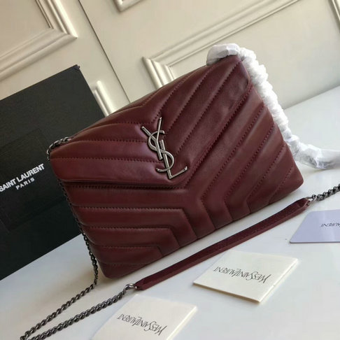 "2018 Saint Laurent Small Loulou Chain Bag in Dark Red ""Y"" Matelasse Leather"