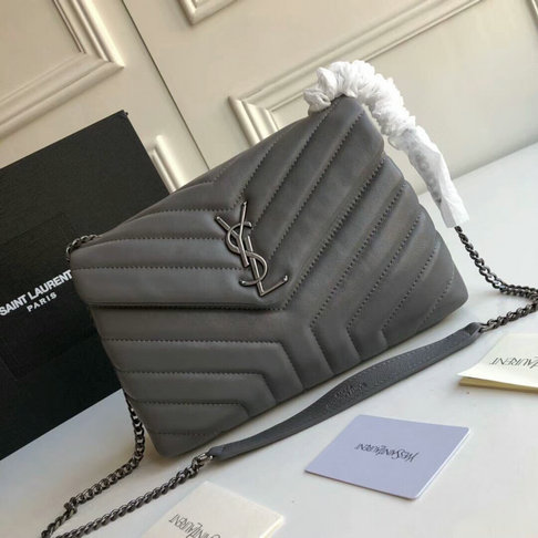"2018 Saint Laurent Small Loulou Chain Bag in Grey ""Y"" Matelasse Leather"
