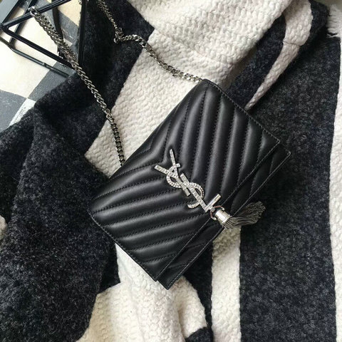 2018 Saint Laurent Chain and Tassel Wallet in Black Matelasse Leather