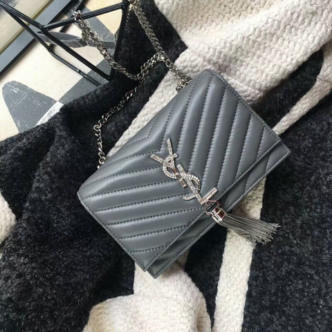 2018 Saint Laurent Chain and Tassel Wallet in Grey Matelasse Leather