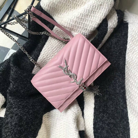 2018 Saint Laurent Chain and Tassel Wallet in Pink Matelasse Leather