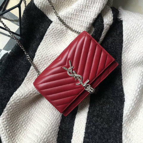 2018 Saint Laurent Chain and Tassel Wallet in Red Matelasse Leather