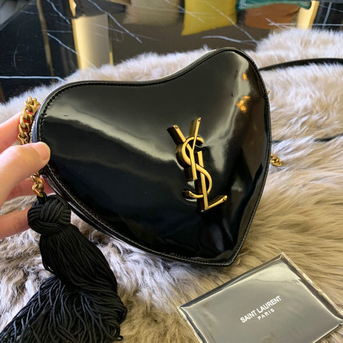 2018 Saint Laurent Monogram Heart Cross Body Bag in Black Patent Leather