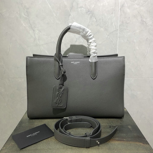 2018 Saint Laurent Jane Tote Bag in Grey Calfskin Leather