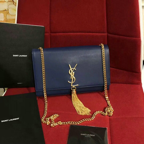 2018 S/S Saint Laurent Kate Tassel Satchel in royal blue leather