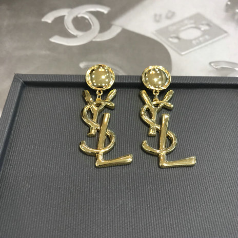2018 Saint Laurent Logo Earrings in gold