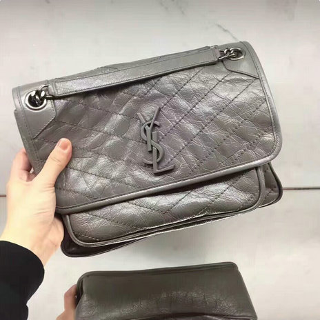 2018 S/S Saint Laurent Medium Niki Chain Bag in vintage crinkled and quilted grey leather