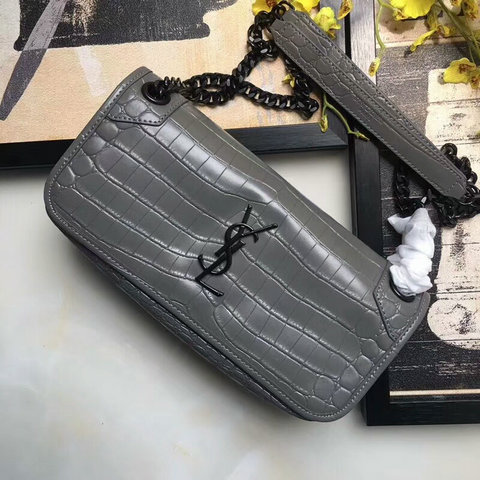 2018 S/S Saint Laurent Small Niki Chain Bag in Grey Crocodile Embossed Leather