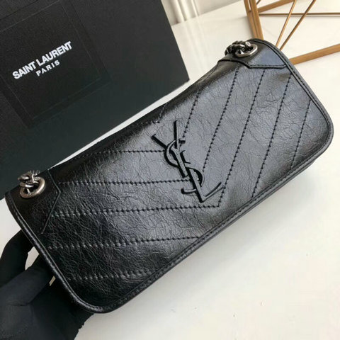 2018 S/S Saint Laurent Small Niki Chain Bag in Black Vintage Crinkled Leather