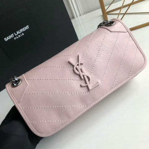 2018 S/S Saint Laurent Small Niki Chain Bag in Pink Vintage Crinkled Leather