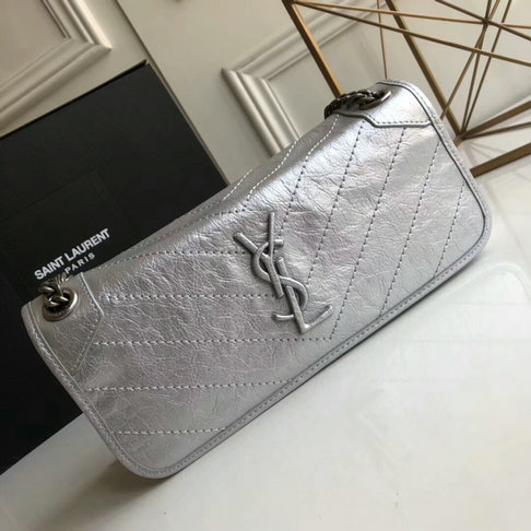 2018 S/S Saint Laurent Small Niki Chain Bag in Silver Vintage Crinkled Leather