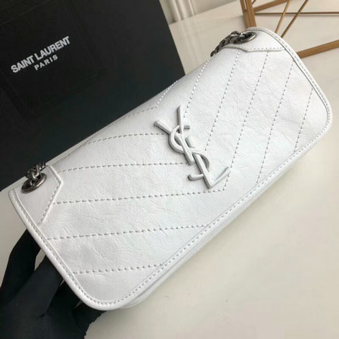 2018 S/S Saint Laurent Small Niki Chain Bag in White Vintage Crinkled Leather