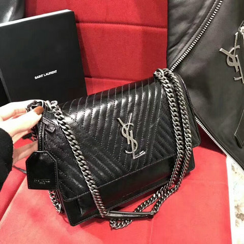 2018 S/S Saint Laurent Sunset Satchel in Black