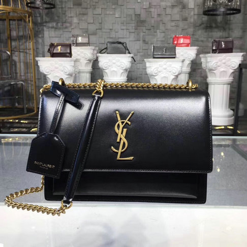 2019 S/S Saint Laurent Medium Sunset Bag Black with golden hardware