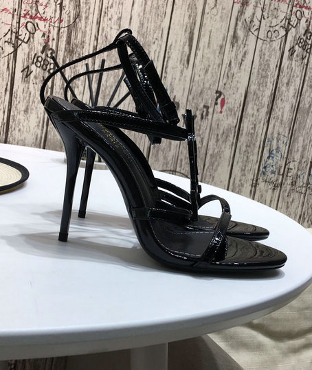 2019 S/S Saint Laurent Amber Leather Sandals with ankle strap