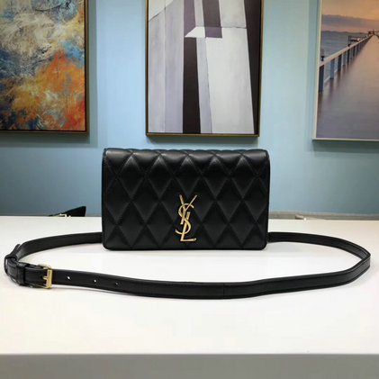 2019 Saint Laurent Angie Chain Bag in black lambskin leather