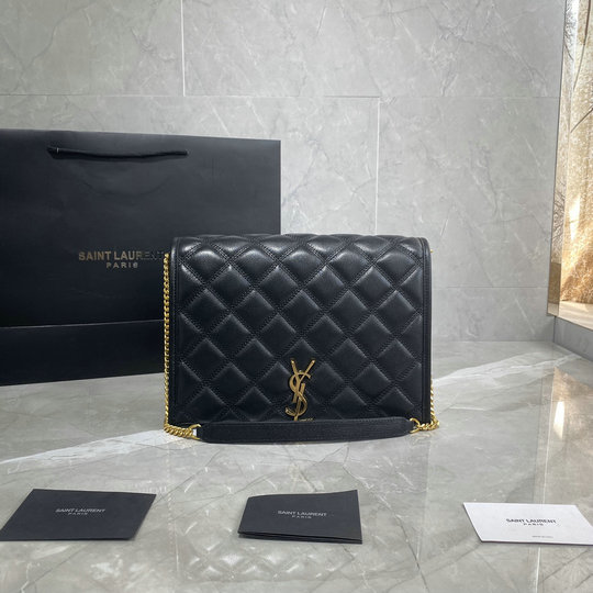 2019 Saint Laurent Becky Small Chain Bag in black quilted lambskin