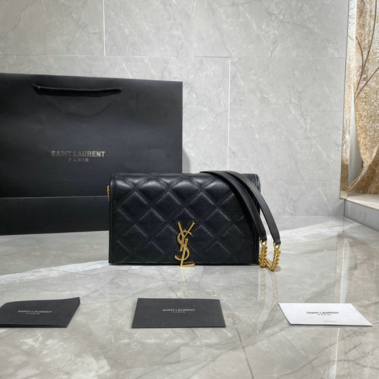 2019 Saint Laurent Becky Chain Wallet in black diamond-quilted lambskin leather