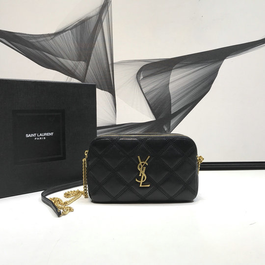 2019 Saint Laurent BECKY Double-zip Pouch in black quilted lambskin leather