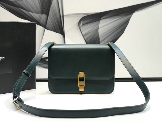 2019 Saint Laurent CARRE satchel in dark green smooth leather