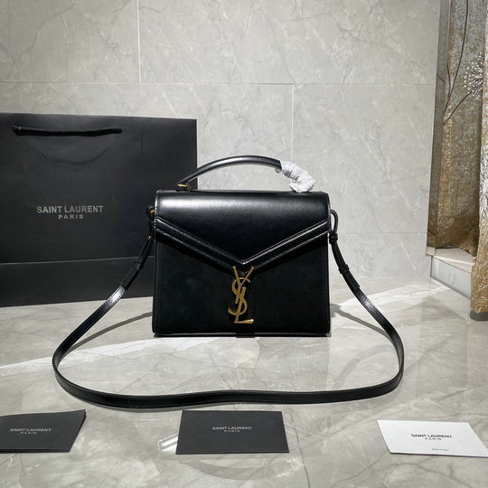 2020 Saint Laurent Cassandra Medium Top-handle Bag in Black Leather and Suede