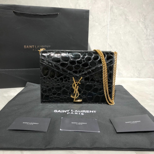 2019 S/S Saint Laurent Cassandra Bag in Black Turtle-embossed Patent Leather