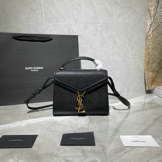 2020 Saint Laurent Cassandra Mini Top Handle Bag in black grain de poudre embossed leather