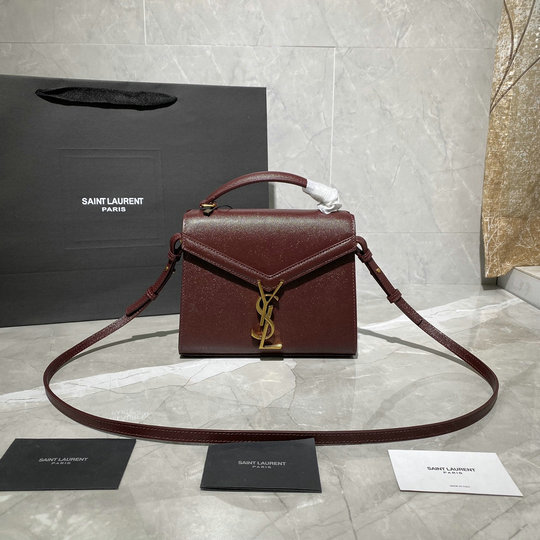 2020 Saint Laurent Cassandra Mini Top Handle Bag in burgundy grain de poudre embossed leather