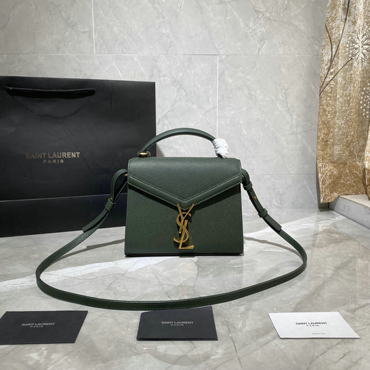 2020 Saint Laurent Cassandra Mini Top Handle Bag in green grain de poudre embossed leather