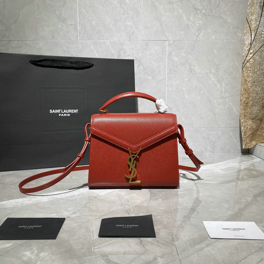 2020 Saint Laurent Cassandra Mini Top Handle Bag in red grain de poudre embossed leather