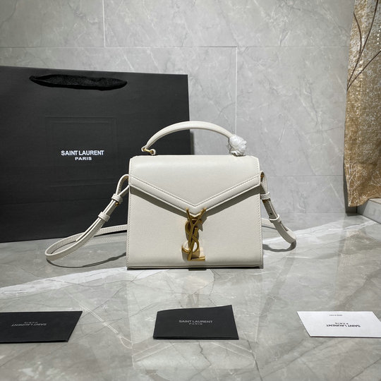 2020 Saint Laurent Cassandra Mini Top Handle Bag in vintage white grain de poudre embossed leather