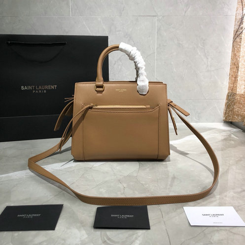 2019 Saint Laurent East Side Small Tote Bag in dark sand smooth leather