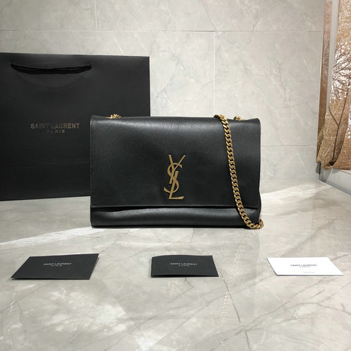 2019 Saint Laurent Kate Medium Reversible Bag in black suede and smooth leather
