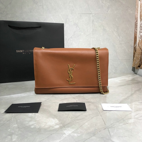 2019 Saint Laurent Kate Medium Reversible Bag in brown suede and smooth leather