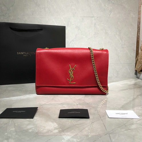 2019 Saint Laurent Kate Medium Reversible Bag in red suede and smooth leather