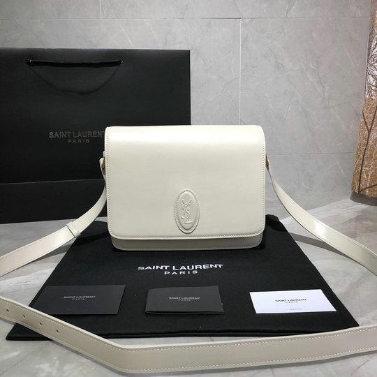 0f6abe9f51 2019 Saint Laurent LE 61 Medium Saddle Bag in blanc vintage smooth leather