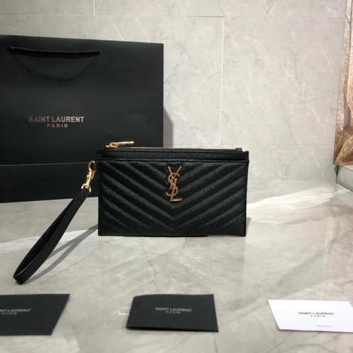 2019 Saint Laurent MONOGRAM Large bill pouch in black grain de poudre embossed leather