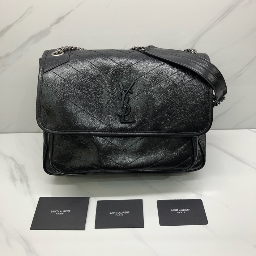 YSL Large Monogramme Niki Chain Bag in Black Vintage Crinkled Leather